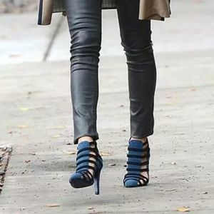 Rebecca Minkoff Blue Black Cage Booties Heels diva